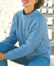 """Ladies Aran Wool Cable Raglan Sweater  32 - 42"""" - Knitting Pattern"""