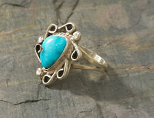 Vintage Turquoise ring, size 7 1/2, handcrafted, sterling silver