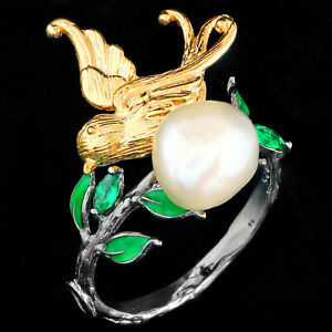 NATURAL 10MM BAROQUE PEARL & GREEN SPINEL BIRD HANDMADE SILVER 925 RING SIZE 9