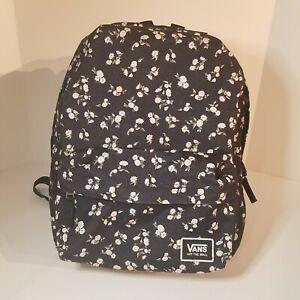 "Vans, Off The Wall, Black, Floral, Backpack, School, Skate Laptop Bag, 17"" x 13"""