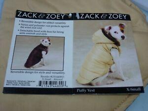 DOG/Pet GOLD PUFFY VEST w/ hood REVERSIBLE  Zack & Zoey size XXSmall NWT almond