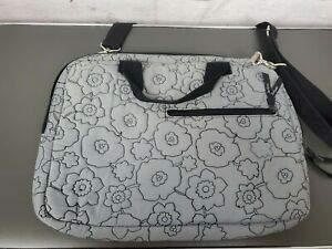 Thirty-One Laptop Bag Gray Quilted Poppy Floral Carry Case Crossbody Handle