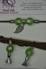 Brown Green Leaf Silver Bead Suede Cord Choker Necklace Long Boho Chic