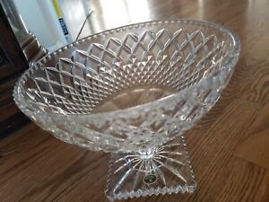 LARGE BOHEMIA CRYSTAL PEDESTAL BOWL HAND CUT FROM CZECH REPUBLIC EXCELLENT
