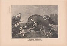 Wildschweinjagd in den Niederlanden Saujagd DRUCK von 1906 Keiler Wildschwein