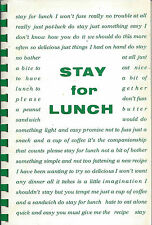 *SIOUX FALLS SD 1982 STAY FOR LUNCH COOK BOOK *CRIPPLED CHILDREN'S HOSPITAL AUX