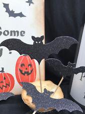 Hecho a mano Conjunto de X 10 Halloween Brillo murciélagos para fiesta Cupcakes/comida Toppers