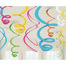 12 Multi Colored Birthday Party Hanging Plastic Swirl Decorations