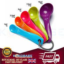 5-Pcs-Colorful-Plastic-Measuring-Spoons-Set-Kitchen-Utensil cooking baking uk