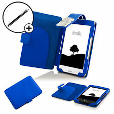 In pelle BLU CASE COVER SLEEVE LED Luce di lettura Amazon Kindle 2016 Stylus