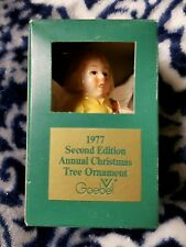 Goebel Annual Christmas Tree Yellow Angel Bell Ornament W/ Lute 1977 2nd Edition
