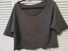 RockNRoll Italian Brand,Crop top,Sweat shirt,L,NEW,grey/stud-skull,crossbone,SS