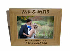 Mr & Mrs Celebration Wooden Frame 8x6 - Personalise this frame - Free Engraving