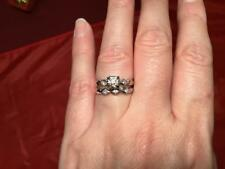 BEAUTIFUL NEW 14K WHITE GOLD & SPINEL ENGAGEMENT/ WEDDING RING SET 5.5 SZ 4.4 GR
