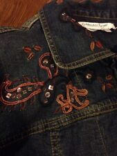 COLDWATER CREEK SZ Large Fall DENIM Jacket With Zipper EMBROIDERED JEAN JACKET