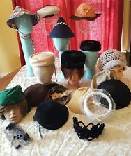 Mixed Lot Ladies Vintage Hats Costume Resale 50's 60's Women Everitt Peachbloom