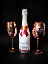 Moet Chandon Ice Imperial Rose Champagner 0,75l 12% Vol + 2 Glas Gläser Kupfer
