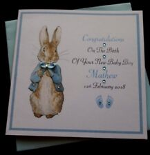 Handmade Personalised New Baby boy Card Congratulations Card