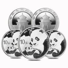 Lot of 5 - 2019 30 gram Chinese Silver Panda 10 Yuan .999 Fine BU