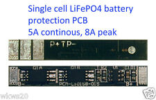 Single cell 5A LiFePo4 Lithium ion phospate Battery In Out Protection PCB A123
