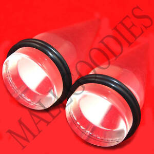 """0635 Acrylic Plain Clear See Through Stretchers Tapers Expanders 1"""" Inch 25mm"""