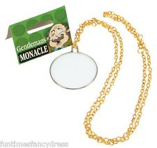 Fancy Dress Monocle Victorian Gentleman's Monacle Glass Monicle On Gold Chain