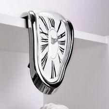 Novelty Timepiece Art Melting Quartz Clock Watch Wall Clocks Silent Silver Color