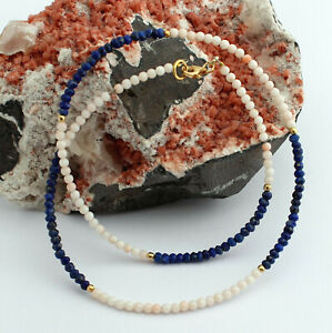 Real Coral And Lapis Chain Natural Precious Stone Necklace Blue Pink 925 Silver