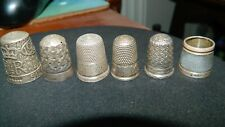 Antique Edwardian Six Hallmarked Silver Thimbles.
