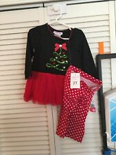 Girl's Jessica Ann 2 Piece Holiday Outfit Set, Red/Black Tree Size 2T NWT