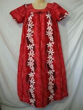 Red Hawaiian Muumuu Dress sz Small Floral Print White Plumeria Flowers Beautiful
