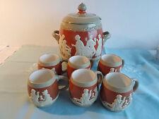 Wekara Keramik Ransbach Mettlach Steingut orange Bowle 4l   6 Pötte um 1900