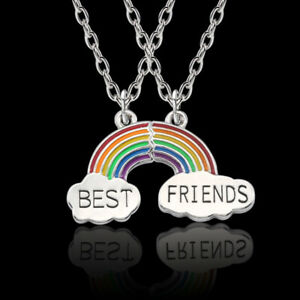Best Friend Gift Rainbow Silver 2 Pendants Necklace BFF Friendship Chain Gift