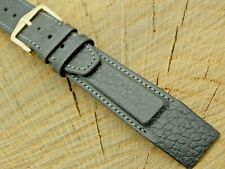 Vintage Black Leather Watch Band w Gold Tone Buckle 18mm Unused Mens NOS Hirsch