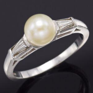 Vintage Platinum Sea Pearl & Diamond Three-Stone Band Ring 4.3 Grams Size 5.75