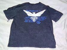 Men's SZ M Black stonewashed Front Solid United Kingdom Back Cotton T-Shirt