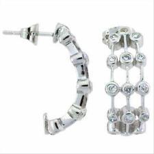 925 Silver CZ Bubble Half Hoop Earrings