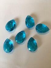 6 Aquamarine 12X17mm Faceted Tear Drop Glass Beads L@@K SALE #27