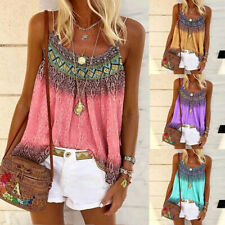 Plus Size Womens Holiday Print Strappy Tops Cami Summer Casual Loose Blouse Vest
