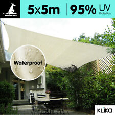 NEW WATERPROOF 5m x 5m OUTDOOR SUN SHADE SAIL CANOPY SQUARE Cloth