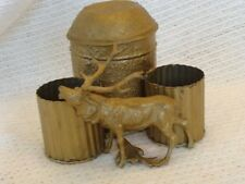Antique Metal Humidor Smoking Set Figural Stag Elk Vintage