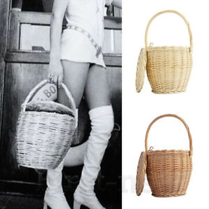 Womens Wicker Basket Bag 100% Handmade Straw Rattan Bamboo Bag With Lid Handbag