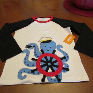 Gymboree Lg sl Shirt, Sz 5T,NWT White,red,navy,Octopus