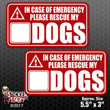 2 Pack In Case of Emergency Rescue My Dogs Sticker Vinyl Decal Save Pets #FS067
