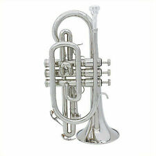 ammoon High Quality Silver BB Cornet Brass Music Instrument With Case M8f6