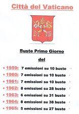 vaticano 1959-60-61-62-63-64-65 annate completa  su 154  buste primo giorno