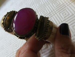 Natural Horn, cuff bangle, bracelet, brass hinges, Ruby, resin/ freesize