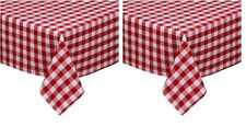 """Gingham Vinyl Tablecloth 52"""" x 52"""" Red ~ 2 Pack  ~ New"""
