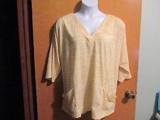 NEW Woman Within Plus 3/4 Sleeve Heather Yellow v-neck Top/Blouse 2X 26/28W NWOT