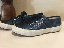 11c49ee98d02 Superga Womens Blue Metallic Lace Up Sneakers Size 7 Shoes Tennis